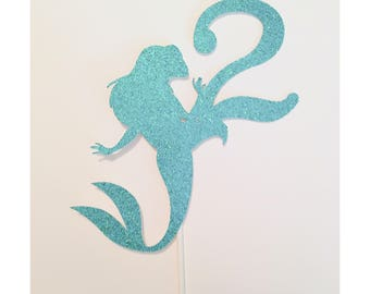Mermaid Cake topper Mermaid themed birthday cupcake topper Age cake topper Under the Sea Party theme- 1 cake topper