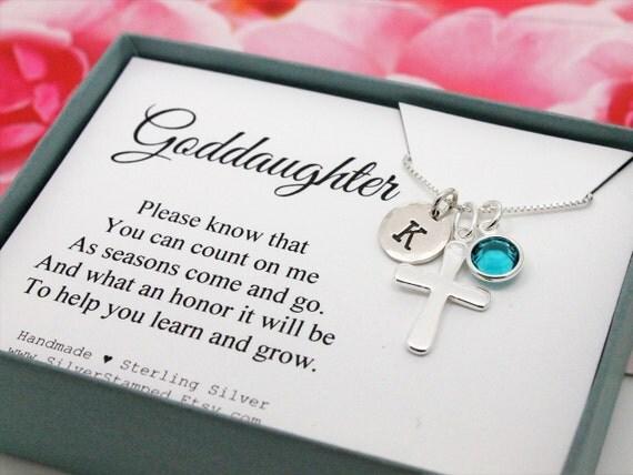 Gift For Goddaughter Birthstone Necklace Sterling By: Gift For Goddaughter 925 Sterling Silver Initial Birthstone