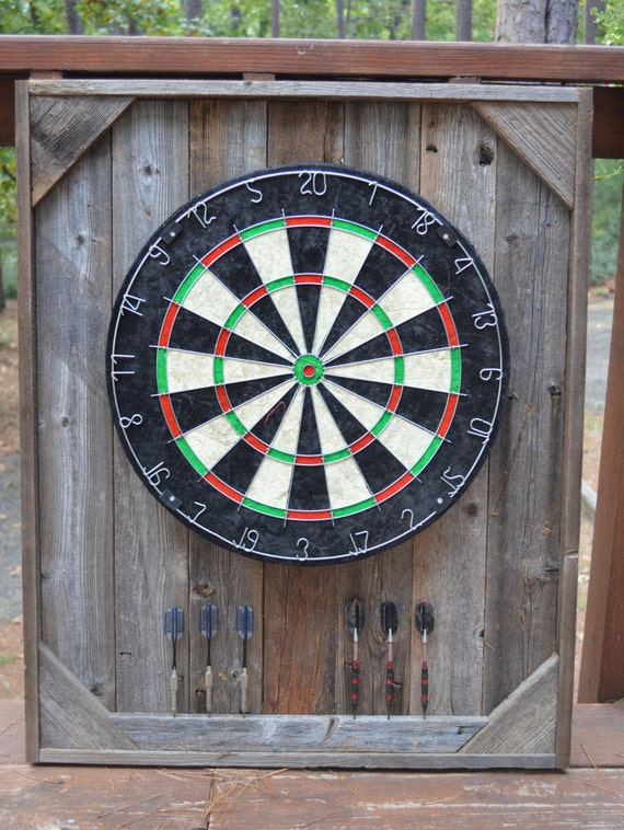 dart board backboard cabinet case barnwood reclaimed wood on. Black Bedroom Furniture Sets. Home Design Ideas