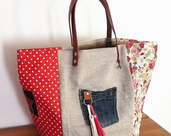 flax natural beige/floral shabby/red dots, Pocket jean and PomPoms, handles camel patchwork