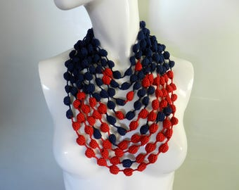 Summer gift for wife Super chunky necklace Bib knitted jewelry bright necklace Knitted statement design necklace Modern blue red crochet