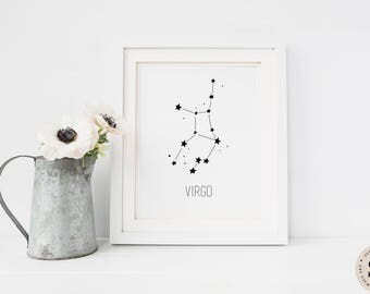 Virgo Print — Printable Wall Art Virgo Zodiac Print Virgo Constellation Printable Zodiac Sign Horoscope Astrology Nursery INSTANT DOWNLOAD