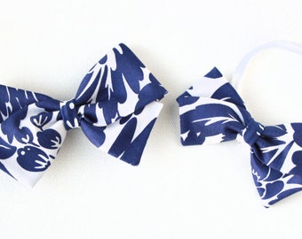 Royal Blue and White Hair Bow - Floral Hair Bow - Nylon Headbands or Hair Clips for Girls