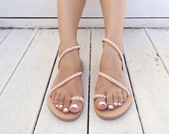 White Pearls Sandals, Leather Sandals, Wedding Shoes, Wedding Sandals, Handmade in Greece From Genuine Leather, by Christina Christi Jewels.