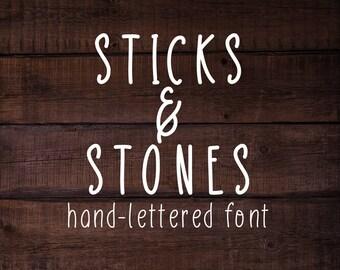 Sticks & Stones handmade font