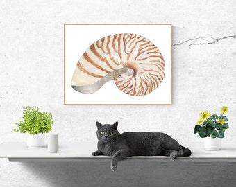 Printable, Instant Digital Download Art - Watercolour Shell, Wall Art, Home Decor