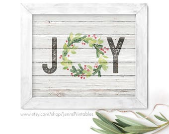 Joy Christmas Printable; Joy Christmas Printable Wall Art; Joy Farmhouse Christmas Decor; Joy printable rustic sign; Joy Holiday Printable