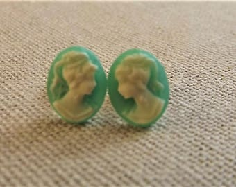 Vintage Green Lady Cameo Earrings - Victorian Cameo Studs - Green Color Cameo - Antique Styled cameo - Victorian Lady Cameo posts