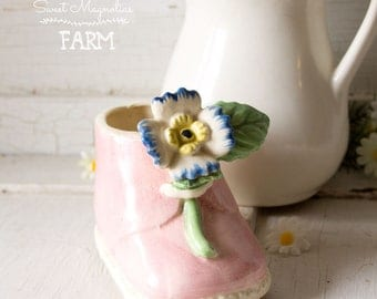 Vintage Pink Floral Baby Shoe Planter ~ Shabby Cottage Chic ~ succulents planter