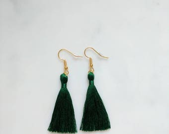 Emerald green tassel earrings cotton 7cm 2.5 inch silky green tassle earrings handmade in UK- gold hook fun festival boho tassle earrings