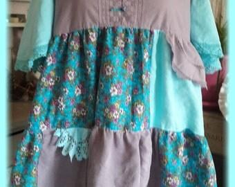 turquoise purple Bohemian tunic, French antique linen, silk linen damask lace dress