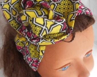African turban, hard headband for girl and woman, wax yellow-pink