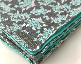 Luxe Flannel Receiving Blanket - Gray/Mint Floral