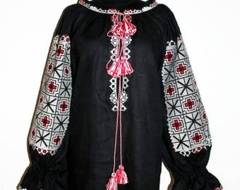 Embroidered tunic Linen boho dress Vyshyvanka Mini Bohemian Clothes Ukrainian Dresses Custom Embroidery Ethnic Ukraine Mexican Embroidery