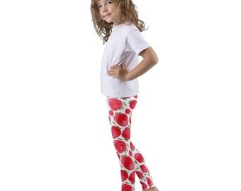 Strawberry Kid's leggings, strawberries pants, toddler leggings, preschooler leggings, sweet bottoms