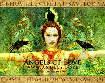 Goddess Art, Gayatri Goddess, Art Print, Universal Prayer, Gayatri Mantra, Spiritual Goddess, Sanskrit Mantra
