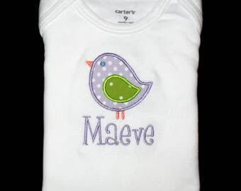 Custom Personalized Applique BIRD and NAME Bodysuit or Shirt - Lavender and Lime Green Polka Dots
