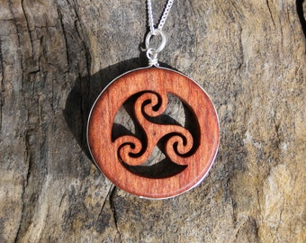 Celtic Spiral Irish Necklace, Triskelion Wooden Pendant, Rosewood Triple Spiral Necklace On Sterling Silver, Mystical Necklace
