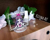 """Kizuna Ai clear acrylic charm and stand 