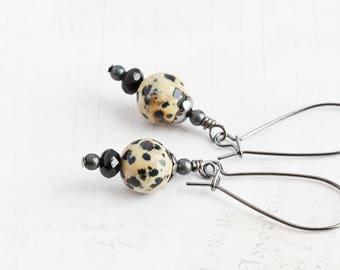 Small Black and White Dalmatian Jasper Gemstone Dangle Earrings