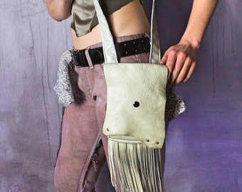 Ivory Fringed Leather Purse / Post Apocalyptic Purse / Festival Purse / Fringed Bag / Shoulder Purse / Shoulder Bag / Fringed Bag