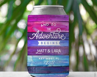 Wedding Favor, Can Cooler - And So The Adventure Begins, Wedding Can Cooler - Custom Can Cooler, Drink Holder, Outdoorsy, Beer Can Cooler