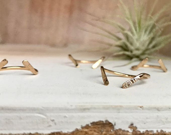 Featured listing image: I N V E R S I O N Stacking Hammered Gold filled Adjustable Rings