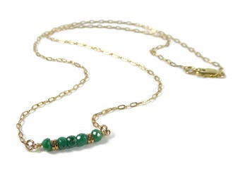 Gold Filled Emerald Bar Necklace, Emerald Necklace, Green Gemstone Necklace, Precious Gemstone Jewelry, May Birthstone, Layering Necklace