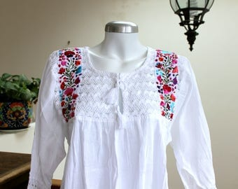 Embroidered mexican tunic,cotton gauze blouse,Colorful Floral Embroidery,Crochet,tassel.White Boho shirt,bohemian Top,hippie chic,Women.