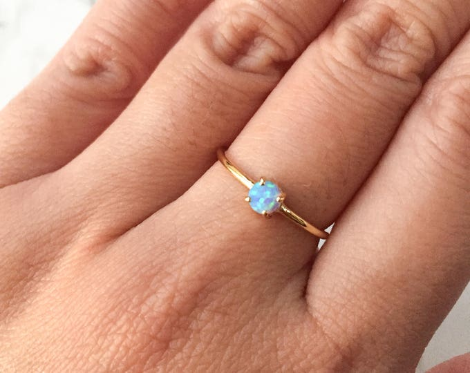 Dainty Blue Opal Gold Ring - Adjustable
