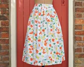 Novelty print skirt / 1950s birdcage skirt / 50s floral cotton skirt / vintage circle skirt / full skirt / canaries and poppies / bird print
