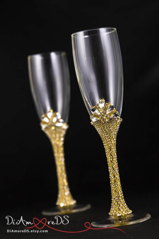Bling Gold Wedding Glasses Bling Wedding Toasting Glasses