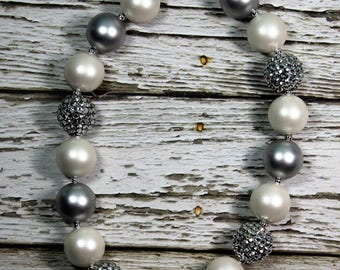 Matte White, Matte Silver and Silver Rhinestone Handmade Chunky Bead Bubblegum Boutique Necklace
