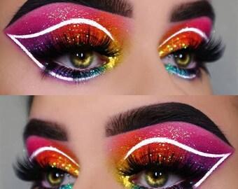 Celebrity Glitter Eyeshadow Pot, Cosmetic Glitter Eyeshadow Pot, Blue Aqua Holographic Glitter Eyeshadow Pot, Cosmetic Glitter Makeup Pot