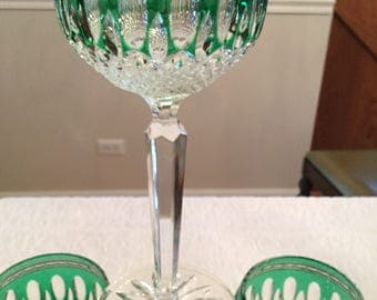 4 Beautiful Waterford Crystal glasses, emerald green Clarendon pattern, hock wine glasses,cut to clear crystal-bridal glasses,