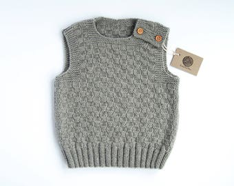 MADE TO ORDER/ Hand knitted baby vest/ merino wool