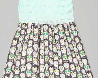 Carolina Kids Mint Ruffle Skulls Boutique Dress