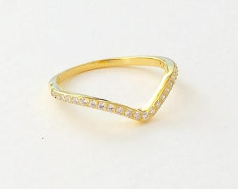 Yellow Gold Minimalist Geometric V Chevron .20 TCW CZ Cubic Zirconia 925 Silver Stackable Ring Size 4-10