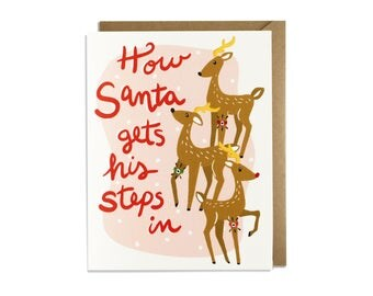 Funny Christmas Card - Holiday Card, Santa, Exercise Steps, Reindeer