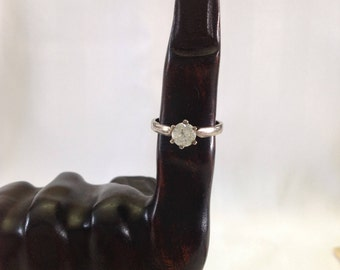Vintage 925 Silver and Round Brilliant Cut Diamond Simulant Solitaire Ring  Size 7 1/2