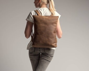 Leather backpack women, Leather backpack laptop, Leather rucksack, Brown leather backpack, Girlfriend gift