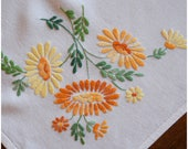 Vintage Embroidered Tablecloth/ Orange Yellow Daisy Table Linen/ Spring Flowers Square Table Topper/ Easter Bridal Baby Shower Mother's Day