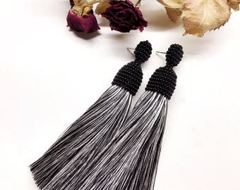 Black and white earrings, Black and white tassel earrings, Tassel drop earrings, Long tassel earrings, Stud earrings