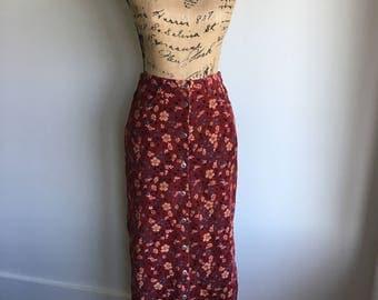 vintage cotton corduroy skirt in Merlot | Bobbie Brooks