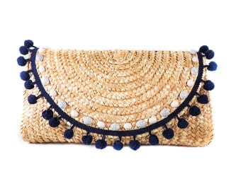 Navy Blue and White Pom Pom Straw Clutch/ Embellished with Marble Acrylic Gems/Wicker Purse/Woven/Boho Style