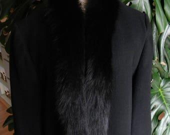 Black lambs wool and fox fur coat / jacket / trench / real fur / dress coat / womens fur coat