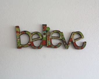 Believe sign,wall decor, wedding gift, home decoration, interior sign