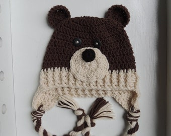 Crochet Baby Bear Hat, boy hats, Luv Beanies, toddler hats, animal hats, bear beanies, boy bear hat, Children hats, kid hats, baby hats