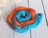 Hand Dyed Cotton Thread - Crochet / Tatting Thread - Size 20 - Turquoise - Mid Orange - Tropical Orange - 50 Yards