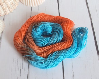 Hand Dyed Cotton Thread - Crochet / Tatting Thread - Size 20 - Tropical Orange - 50 Yards